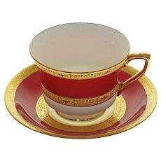 Royal Worcester Raised Gilt Red Porcelain Cabinet Cup & Saucer C2669 - 1941, England
