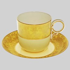 Royal Worcester Antique Cabinet Demitasse Cup & Saucer Yellow Gilt Porcelain - 1889, England