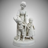 Antique W. Goebel Parian Mother and Children Group Figurine - c. 1900-1914, Germany