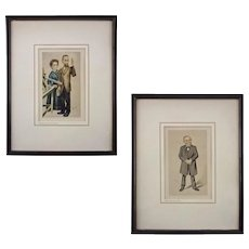 Pair Vanity Fair Scientist Caricatures Spy Prints Pierre and Marie Curie and Carl Virchow Framed Medical Doctor - c. 1930's