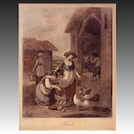 Month of March Color Mezzotint Etching after Bartolozzi and Hamilton, Framed - c. 19th Century, England