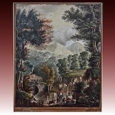 Antique Watercolor Vesuvius Volcano Laid Paper Watermark Napoli Signed Auguste - circa 1822, Italy