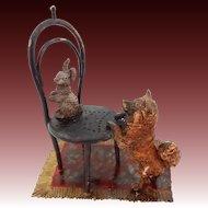 Austria Cold Painted Bronze Group Pomeranian Dog and Rabbit Vienna Chair on Carpet Miniature Sculpture