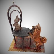 Austria Cold Painted Bronze Group Pomeranian Dog and Rabbit Vienna Chair on Carpet Miniature Sculpture