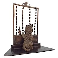 Miniature Austria Mark Bronze Scottish Terrier Dog at Window Sculpture Cold Painted