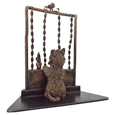 Miniature Austrian Bronze Scottish Terrier Dog at Window Sculpture Cold Painted