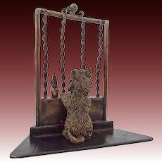 Miniature Austrian Bronze Scottish Terrier Dog at Window Sculpture Cold Painted