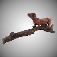 Austria Cold Painted Bronze Group Dachshund Dog on Tree Trunk Branch Miniature Vienna