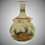 Antique Bohemian Hunt Scene Enamel Marbled Glass Prunt Flask Bottle Double Gourd Harrach - circa 1862, Bohemia