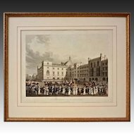 Aquatint The Queen Returning from the House of Lords - c. 19th Century, England