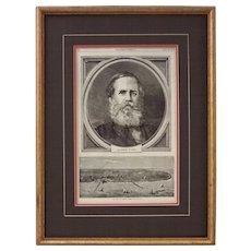 Antique Woodblock Print Pedro II Emperor of Brazil, Harper's Weekly - 1871, USA
