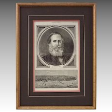 Antique Woodblock Print Pedro II Emperor of Brazil, Harper's Weekly - 1871, USA