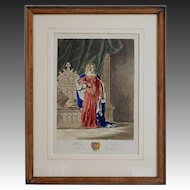 Antique Aquatint Philippa of Hainault, Queen of England - 19th Century, England
