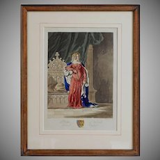 Antique Aquatint Philippa of Hainault, Queen of England - 19th Century, England