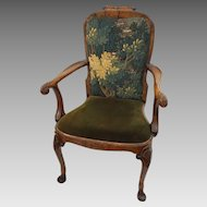 Antique Walnut Armchair Queen Anne Style Carved Shell Decor Tapestry Upholstered Back - c. 1900's, England