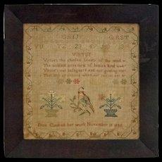 1843 Schoolgirl Needlework Sampler Antique Textile Parrot - 1843, New York
