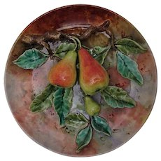 French Majolica Barbotine Fives Lille Cabinet Plate Three Pears Large