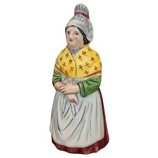 French Country Provincial Faience Majolica Lady Figural Dinner Bell Pottery - 20th Century, France