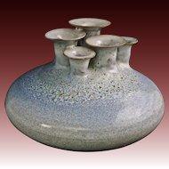 Art Pottery Multi Hole Vase Signed Barbara Fischer - circa 1975, Germany