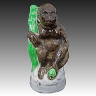 Staffordshire Orangutan / Ape Pottery Exotic Animal Figurine - post 1850, England