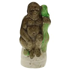 Staffordshire Orangutan / Ape Pottery Exotic Animal Figurine - post 1850, England