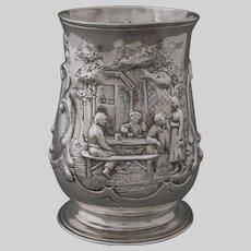 Antique 18th Century Georgian Sterling Silver Tankard / Mug / Cup Ale House Scene - 1759, England