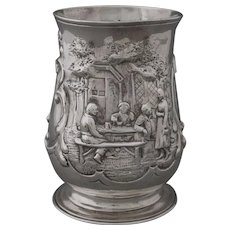 Antique 18th Century Georgian Sterling Silver Tankard / Mug / Cup Ale House Scene - 1759, England