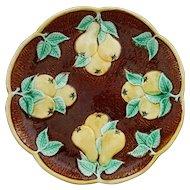 English Majolica Pear Plate Yellow Green Rustic Brown Bark Scalloped Border - circa 1934, England