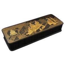 Japanese Papier Mache Lacquer Rectangular Hinged Lid Box Geishas Temple - c. 1900's, Japan