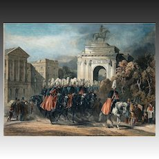 English Officers Passing Wellington Arch at Hyde Park Lithograph by W. Robert and Lowes Dickinson - 19th Century, England