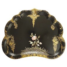 Lge Papier Mache Butler's Tray Black, Gilt, MOP Antique Victorian - 19th Century, England