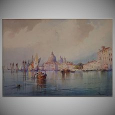 Venice Gondolas Grand Canal Watercolor Painting Signed W. Knox Listed Artist Framed
