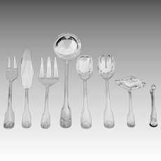 Serving Pieces Plata Lappas Colbert Pattern Silverplate Flatware Set Eight / 8 - 20th Century, France / Argentina