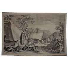Antique Dutch Mannerism Engraving Cottage after Bloemaert / Bolswert on Laid Paper - Netherlands