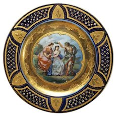 Vienna-Style Porcelain Gilt-Decorated Cobalt Portrait Plate Beehive Mark Carlsbad