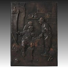 Bronze Relief Plaque Flemish Men Playing Game of Dice on a Barrel Zu Wenig