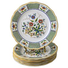 Set 8 French Sarreguemines Montmorency Chinoiserie Dinner Plates - c. 1875 - 1900, France