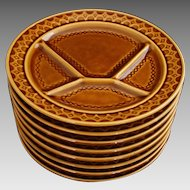 Set Eight Sarreguemines Divided Fondue Plates Caramel / Amber / Brown - after 1974, France