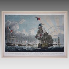 Battle of the Nile, Attack at Sunset Aquatint by Robert Dodd - 1799, England