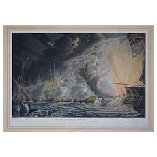 Battle of the Nile, Near Midnight Aquatint by Robert Dodd - 1799, England