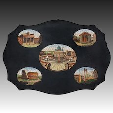 Antique 5 Micromosaic Roman / Vatican Monument Scenes Plaque Grand Tour - 19th Century, Italy