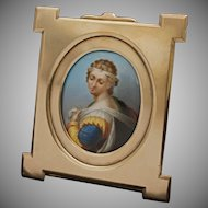 Miniature Portrait Porcelain Plaque Painting Immaculate Conception after Murillo Antique French Bronze Frame