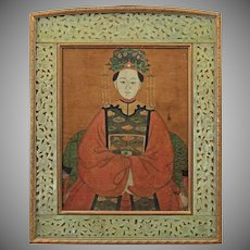 Chinese Empress Portrait in Carved Jade and Gilt Bronze Picture Frame Painting on Silk