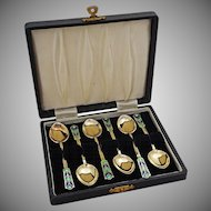 Set 6 English Sterling and Enamel Demitasse Coffee Expresso Spoons Fitted Case Turner & Simpson - after 1912, England