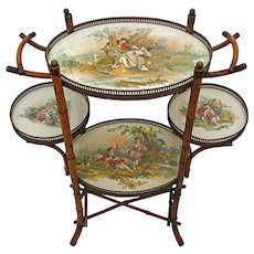 English Bamboo Tiered Porcelain Trays Side Occasional Table - 19th Century, England - Red Tag Sale Item