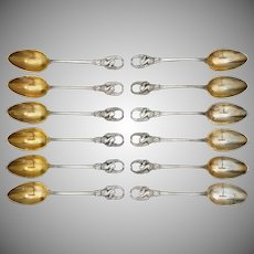 Swan Handled .800 Solid Silver Demitasse Spoons Koch & Bergfeld - about 1884, Bremen