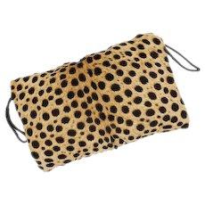 Animal Print Calf Hair Faux Cheetah Pattern Large Hand Muff / Clutch