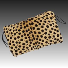 Animal Print Calf Hair Faux Cheetah Pattern Large Hand Muff / Clutch