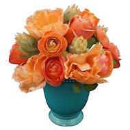 Flower Bouquet Rose, Poppy, Protea Arrangement Orange, Coral, Peach, Glazed Turquoise Pottery Pot / Vase