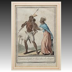 Senegal Warrior West Africa Engraving on Laid Paper Labrousse St Sauveur - late 18th Century, France